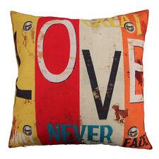 "18x18"" Printed Cotton Sofa Bed Car Home Decor Grade Pillow Case Cushion Cover AU Happy Place"