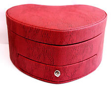 LUXURIOUS TUSCAN DESIGNS LARGE RED LEATHER HEART SHAPED JEWELRY CASE ORGANIZER
