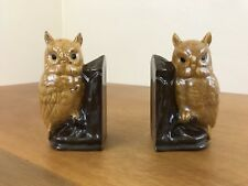 Vintage 1970s Owl Bookends Glazed Ceramic Pieces