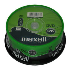 25 Maxell Branded DVD+RW Disc (4x) 4.7GB 120Min Spindle Cake Box Rewritable