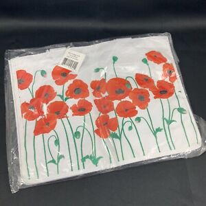 """NWT White Vinyl Tote Bag With Red Poppy Design Item 195060 15.5"""" by 12"""""""