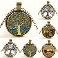 Retro Vintage Living Tree of Life Cabochon Bronze Glass Chain Pendant Necklace
