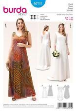 BURDA SEWING PATTERN MISSES' WEDDING EVENING  DRESS PLUS SIZE 18 - 32 6711