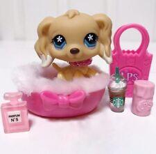 Littlest Pet Shop Dog Lot Tan Dipped Cocker Spaniel Blue Eyes #748 Accessories