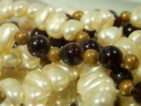 White & Black Garnet Bead & Faux Pearl Vintage 1970's Long Necklace  42M9