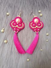 Soutache Earrings Handmade Pink White Gold Nickel Free Hook Light Big New NWT