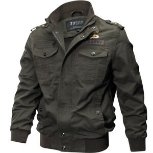 Mens Casual Sports Air Force Zip Military Tactical Pockets Jackets Coats Thicken