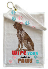"German Pointer Paw Wipe Towel 11"" x 18"" with brass hang hook"