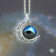 Glass Galaxy Planet ECLIPSE Crescent Moon Pendant Necklace UK Seller
