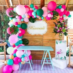 143pcs Hawaii Tropical Pink Balloons Garland Arch Kit Leaves Beach Party Decor