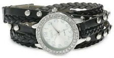 XOXO WOMEN'S XO5636 BLACK STUDDED AND BRAIDED WRAP WATCH