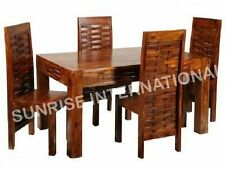Wooden Lattice Design Dining Table with 4 chairs set !!