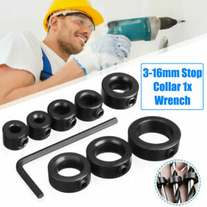 8pcs 3-16mm Drill Bit Depth Stop Collars Positioner Drill Locator Fixed Ring