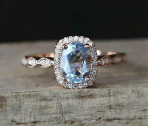 1.93Ct Oval Cut Blue Sapphire & Diamond Engagement Ring 14Karat Rose Gold Finish
