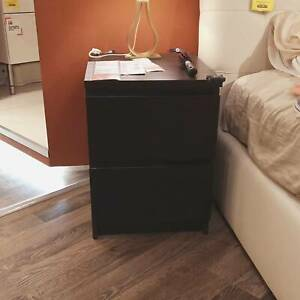 Black Modern Bedside Table Cabinet 2 Chest of Drawers Storage Nightstand Bedroom