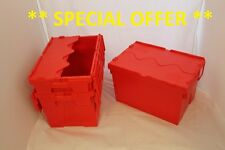 10 Used Red Removal Storage Crates Box Container 65L