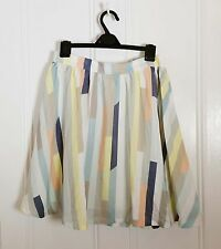NIFE multi colour White Striped Satin short Mini pleated Flare Skater skirt M 10