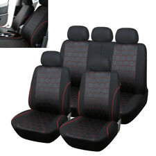 Full Set 9PCS Polyester Fabric Car Seat Cover SUV Seat Cushion Front/Rear 5-Seat