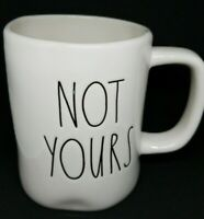 "Rae Dunn ""Not Yours"" Mug Coffee Tea Cup Large Black Letters Magenta Farmhouse"