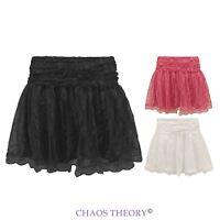 New Ladies Mini Skirt Mesh Lace Crochet Tiered Womens Shorts Skorts Short Pants