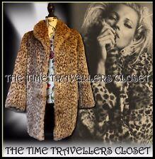Astraka Vintage 80s Beige Brown Faux Fur Leopard Thigh Length Coat Jacket UK 12+