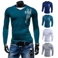 New Mens Long Sleeve Plain T shirt Tee Tops Muscle Slim Fit V-neck Casual Shirts