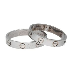 Cartier Love His and Hers Set 18k White Gold 750 Wedding Band Ring 8.5 & 7 Size