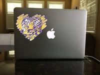 08-07-04 LSU Tiger Heart I love LSU SEC Window vinyl sticker decal Geaux Tigers