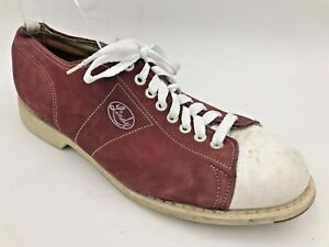 Vintage Linds Bowling Shoes Mens size 8D Burgundy Suede Leather made in USA D2