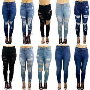 WOMENS LADIES GIRLS HIGH WAISTED EXTREME RIPPED SLIM SKINNY JEANS SIZE