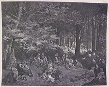 Doré-Londres; 'bajo los árboles-Regent' s Park' , antiguo grabado en madera, C.1870