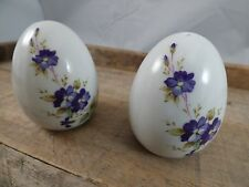 SALT & PEPPER SHAKERS/ VTG LEFTON/ WHITE CERAMIC EGG W PURPLE FLOWERS/ KITCHEN