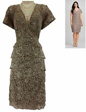 22W 3X NWT Sexy BEIGE SEQUINED LACE TIERED DRESS Special Occasion PLUS SIZE NEW