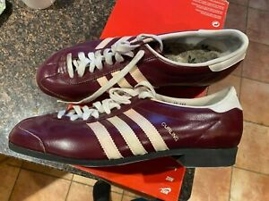 "Rare Vintage Obscure 70s/80s Adidas ""CURLING"" Curling Shoe Size US 11.5 Burgundy"