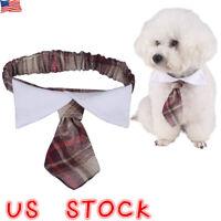 Plaids Pet Bow Tie Collar Adjustable Necktie Bowknot Clothes For Pet Dog Cat US