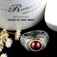 Vintage Rubin Smaragd Silber Ring Frauen Mann Hochzeit Engagement Schmuck  Heiß
