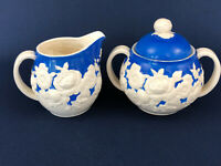 vintage hand painted blue & white ceramic sugar bowl & creamer Japan 1930s