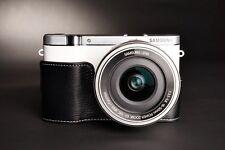 Genuine real Leather Half Camera Case bag cover for Samsung NX3000 Black