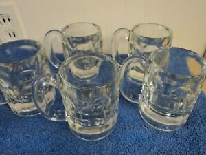"""Five (5) Vintage 8 oz. Root Beer Heavy Thick Glass Mugs Stein Float Mug 4-1/4"""""""