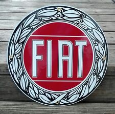 FIAT PORCELAIN COATED ROUND SIGN