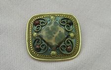 Vintage Silver Gold T MICHAL GOLAN Designer Jasper Gemstone Necklace Pin Brooch