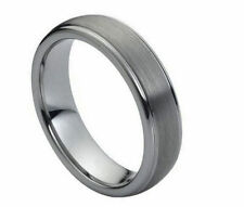 6mm Men's or Ladies Tungsten carbide Step Edge Brushed Center wedding band ring