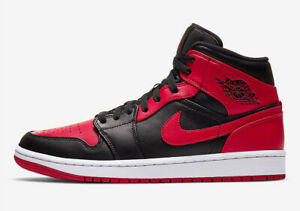 Nike Air Jordan 1 Mid Banned Black Red 554725-074 GS Youth Size 3.5Y to 7Y