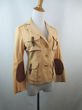 BCBG MAX AZRIA WOMENS S SMALL BEIGE BROWN LEATHER ELBOW PATCH STRAP JACKET A44