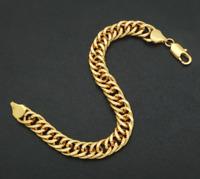 Armkette extra breit 8MM Armband Gold kette Herren Männer 21cm 18k vergoldet GA5