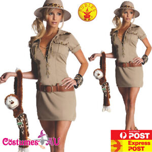 Ladies Jane the Hunter Costume Tarzan Jungle Safari Fancy Dress Halloween + Hat