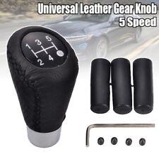 5 Speed Manual Stitche Leather Universal Car Gear Stick Shift Knob Shifter Black