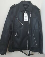 ZARA BLACK OVERSIZED FAUX LEATHER BIKER JACKET BNWT SIZE XS