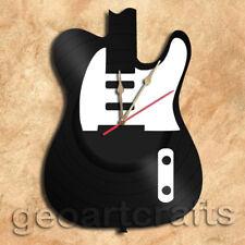 Guitar Vinyl Record Clock Upcycled Gift Idea