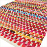 2 X 3 ft to 6 X 9 ft Colorful Chindi Rag Multicolor White Rug Woven Decorative B